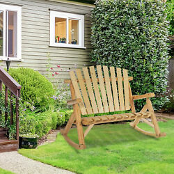 2 Person Fir Wood Rustic Outdoor Patio Adirondack Rocking Chair Bench $159.99
