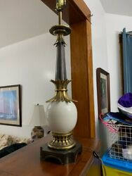 Vintage 1950's Stiffel lamp. Brass and ceramic Hollywood Regency Ostrich Egg l $400.00