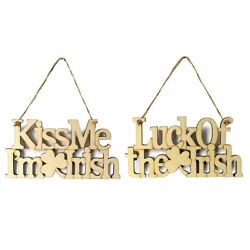 Wooden DIY Irish Saint Patrick#x27;s Day Plaque Stained Hanging Ornament Wall Decor $8.42