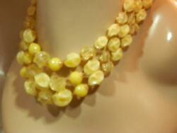 WOW W Germany Signed Yellow Triple Strand Lucite Vintage 50#x27;s Necklace 105N9 $23.99