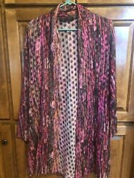 Robert Kitchen Canada Long Cardigan Bright Pink Great Cond Womens Small Lightwe $26.99