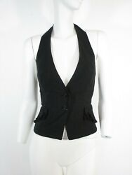 STUNNING WOMEN ALL SAINTS ICONIC CAMEO WAISTCOAT VICTORIAN RUFFLE POCKET BLACK 8 $56.30