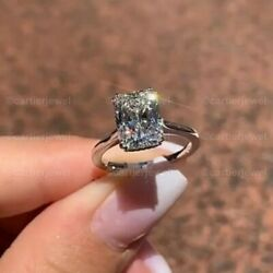 Real 10k White Gold 2.50 Ct Radiant Cut Solitaire Diamond Engagement Ring $259.00