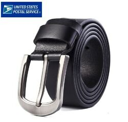 Mens Genuine Leather Belt Belts With Classic Silver Buckle Brown Black US STOCK $12.95