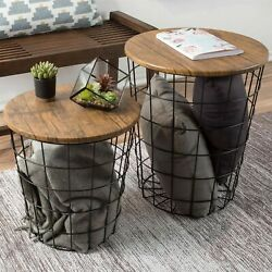 2 Convertible Nesting End Tables Metal Basket Wooden Top Home Office Furniture $89.99