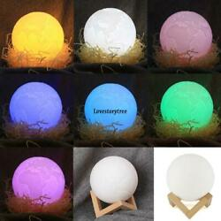 3D Print Earth LED Lamp Touch Switch Brightness Adjustable with Wooden TXST 06