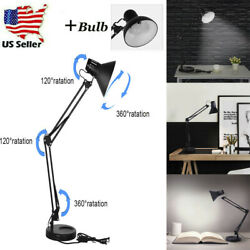 Long Swing Arm Desk Lamp Work Office Reading Adjustable Folding Table Light Lamp