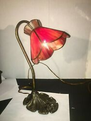 Vintage Stained Glass Slag 1940'S   TABLE DESK LAMP  BRONZE BASE  15