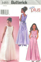 Butterick 3483 Girls Plus Dresses Sewing Pattern Size 8 1 2 16 1 2 Uncut $7.99