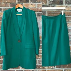 Vtg 90s Oleg Cassini Wool Crepe Suit Pencil Skirt Long Jacket Emerald Green Sz 8 $45.00