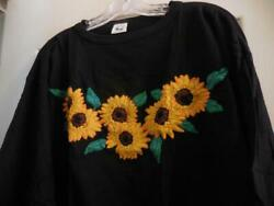 Las Manos Womens Size Large Black Hand Embroidered Unique long Sleeve T Shirt $12.50