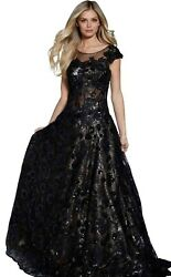 Jovani Women#x27;s pageant black evening ball gown sells for $900 authentic size 10