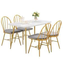 5 Piece Marble Dining Table Set 4 Chairs Kitchen Dining Room Breakfast Nook US $102.99