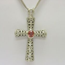 Theo Fennell 18k White Gold Large Diamond and Pink Sapphire Cross Pendant. Mint!