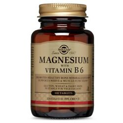 Solgar Magnesium with Vitamin B6 100 Tablets FRESH FREE SHIPPING MADE IN USA $9.36
