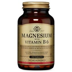 Solgar Magnesium with Vitamin B6 250 Tablets FRESH FREE SHIPPING MADE IN USA $15.79