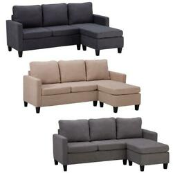 3 Colors Modern Living Room Reversible Linen Fabric Sectional Convertible Sofa $336.90