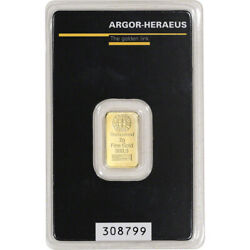2 gram Gold Bar Argor Heraeus 999.9 Fine in Assay $147.76