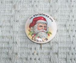 ANTIQUE FOR CHRISTMAS GIFTS LOBEL#x27;S SANTA CLAUS PINBACK WEST NEW YORK NJ PIN $25.00