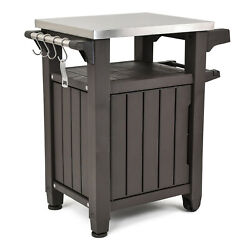 All Weather Outdoor Serving Station Prep Table Stainless Top Resin Storage BBQ $164.87