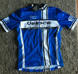 NEW Blue White Black Veloce Cycling Jersey Shirt S SMALL Road MTB FULL ZIP NWT $27.99