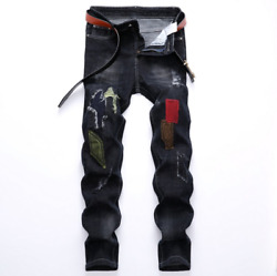 Designer Men#x27;s Moto Biker Jeans Straight Slim Fit Denim Pants Distressed Blue US