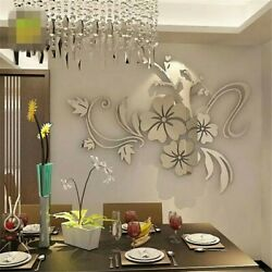 Flower 3D Mirror Wall Stickers Removable Decal Wall Art Mural Home Bedroom Decor $9.99