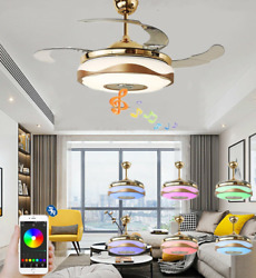 Invisible Bluetooth Ceiling Fan Light LED 7-Color Music Player Chandelier 36