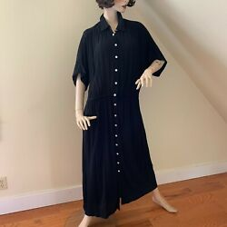 Vintage Together Womens Black Rayon Maxi Dress Short Sleeve Size 16 $28.00