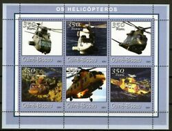 GUINE BISSAU 2001 OS HELICOPTEROS HELICOPTER AVIATION APACHI MILITARY STAMPS MNH GBP 1.49