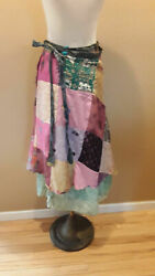 VTG Multicolor patch work Silk Wrap Skirt India Boho Gypsy Hippie Large one size $25.00