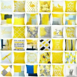 Yellow Throw PILLOW COVER Decorative Abstract Gray White Bed Cushion Case 18x18quot;