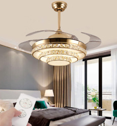 """42"""" Gold LED Invisible Ceiling Fan Light Modern Crystal Chandelier Lamp w Remote $149.92"""