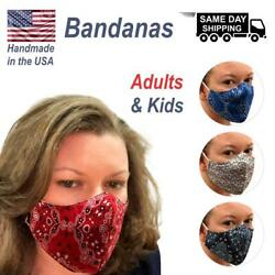 Bandana Face Mask Double layer for Adult SML & Kids - Made USA $8.99
