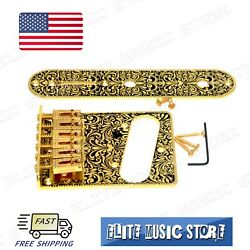 Gold Retro Fender Tele Telecaster Electric Guitar Bridge 6 Saddles Control Plate $24.99