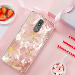 For LG Stylo 5 Plus 5x 5v Phone Case Cover BlushPink Blossom TPU Tempered Glass $8.95