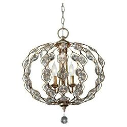Feiss F27413BUS Leila 3-Light Burnished Silver and Crystal Orb Pendant Light