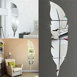 Modern Feather Mirror Removable Decal Art Mural Wall Sticker Home Room DIY Decor C $4.09