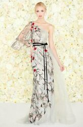 MAC DUGGAL 20124D Embroidered Sheer Lace Trumpet Belted Dress Gown with Train 14 $407.15