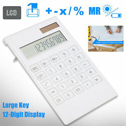 12 digit Large Solar Desktop Calculator Instruments LCD Screen Business Office