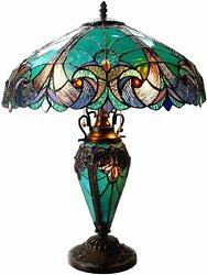 Nice Blue Victorian Stained Glass Lamp Floral 24quot; Vintage Antique Nightstand $329.00
