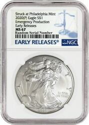 2020 (P) $1 Silver American Eagle NGC MS67 Early Releases ER Live Ready to Ship $52.99