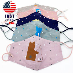 DOUBLE LAYER Reusable Child Kids Cotton Face Mask Cloth Mouth Cover Children $7.99