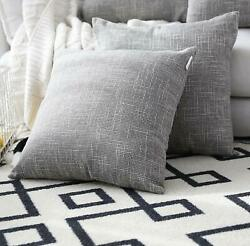 Faux Linen Cushion Covers Set of Two 26 X 26 in for Big Sofa Pillows            $39.00