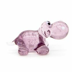Hand Blown Art Glass Hippopotamus Figurine Purple Handmade Wild Animal Figure