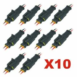 10PCS 2Pin Car Waterproof Male Female Electrical Connector Plug with Wire Kits $9.99