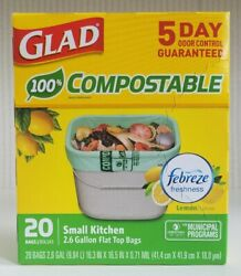 1 Glad Compostable kitchen Trash Bags 2.6 Gallon Flat Top Bags 20 count New $17.00