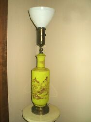 Vintage Rembrandt Chinoiserie Torchiere Lamp Yellow French Opaline Style Glass $195.00