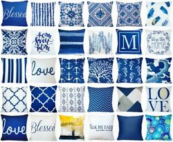 Cushion COVER Navy Blue Decorative Indigo White Premium Throw Pillow Case 18x18quot;