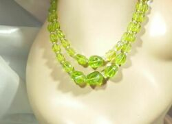 XX Lovely Lime Green Lucite Vintage 50#x27;s Japan Signed Two Strand Necklace 865My0 $23.99